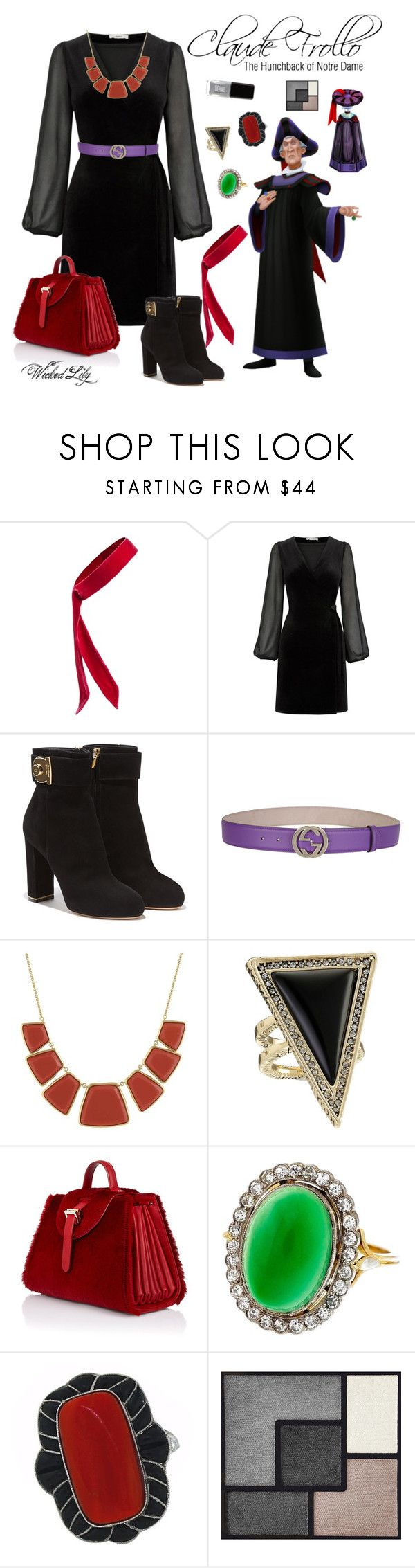 """""""Claude Frollo """"Disney Villains"""""""" by le-piano-argent ❤ liked on Polyvore featuring L. Erickson, Oasis, Salvatore Ferragamo, Gucci, Karen Kane, House of Harlow 1960, Disney, Meli Melo, Yves Saint Laurent and JINsoon"""