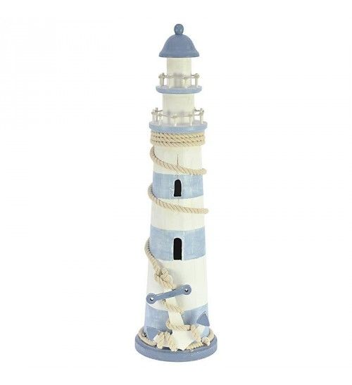 WOODEN LIGHTHOUSE IN LT BLUE - WHITE COLOR 20X20X76