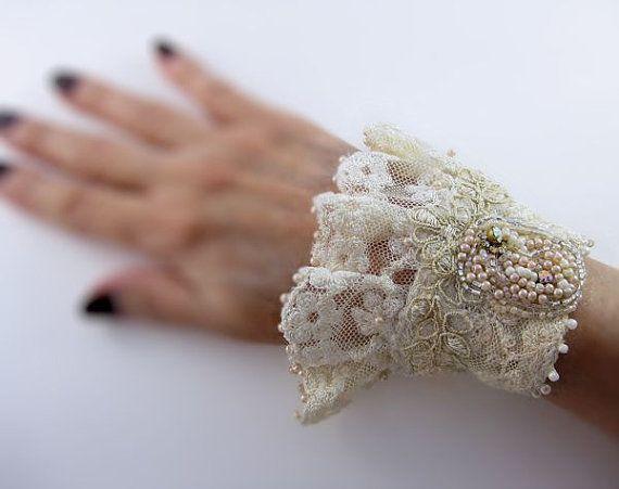 Wedding lace cuff, antique lace bracelet, lace wrist cuff with bead embroidery, bohemian wedding, gypsy wedding