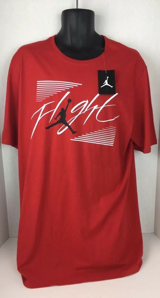 16f686c464ea77 Nike Air Jordan Flight Authenic Red T Shirt XLT Big and Tall AR3360 Jumpman   Jordan  GraphicTee