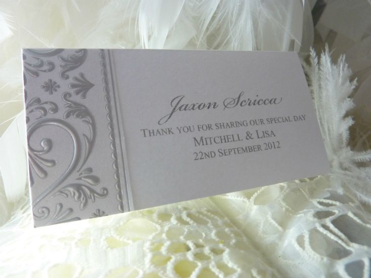 Silver embossing place card