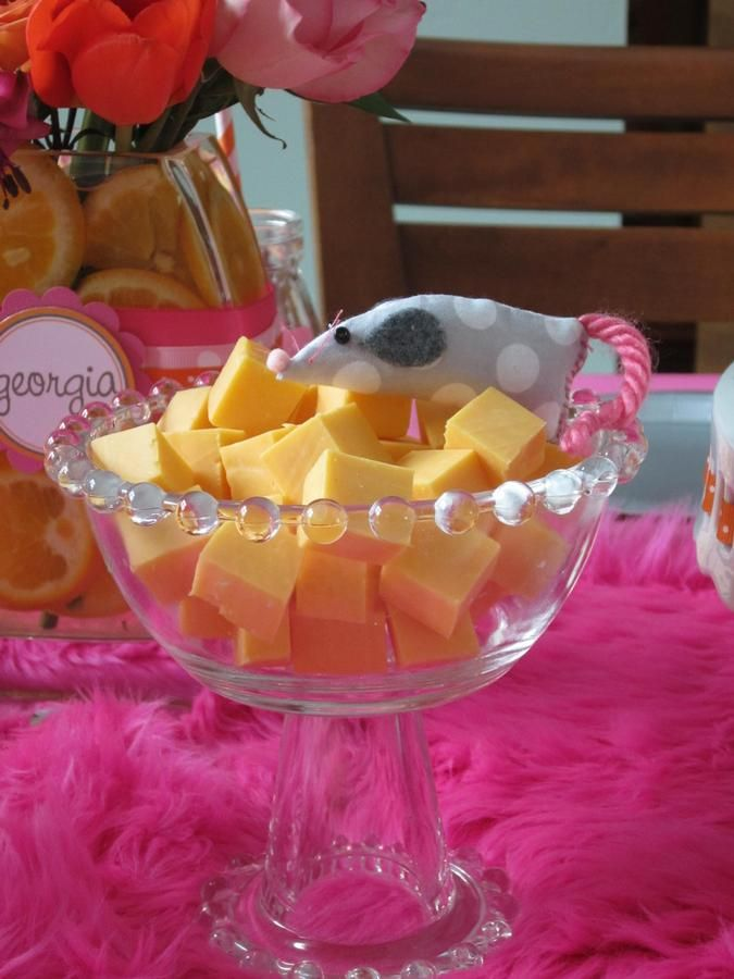 kitty cat party- mouse and cheese. precious!                                                                                                                                                                                 More