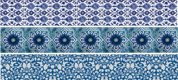 Wall decal Stair case Blue pottery style strips by Bleucoin