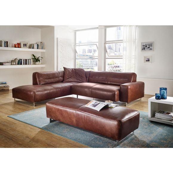 Ledersofa rund simple ecksofa merlijn grau garnitur sofa couch hocker with ledersofa rund - Braunes ecksofa ...