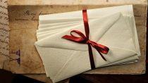 Просмотр письма, конверты, ленточка, чернила, бумага, старая, винтаж