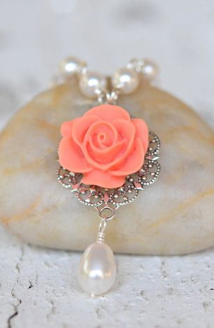 Coral Orange Rose and White Swarovski Pearl Teardrop
