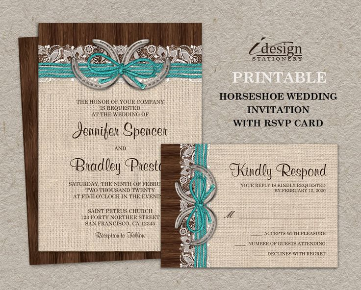 Printable Rustic Turquoise Country Western Horseshoe Wedding Invitation With RSVP, Burlap, Lace, Horseshoes And Twine On Brown Barn Wood by iDesignStationery on Etsy