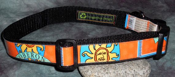 Adjustable Dog Collar from recycled Bell's Oberon beer labels by squigglechick