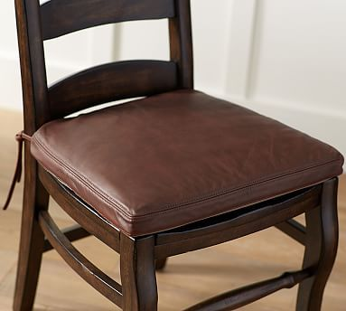 PB Classic Leather Dining Chair Cushion #potterybarn