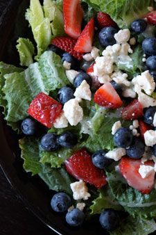 4th of July Salad-  3-4 cups of fresh romaine lettuce cleaned and torn (you could just use the bagged stuff)  About 1/2 cup fresh blueberries  About 1/2 cup fresh strawberries cut in small chunks  1 oz (28g) Crumbled Feta  1 tbsp Sweet Poppy Dressing - only I use spinach instead of romaine. But delicious and a summer favorite!