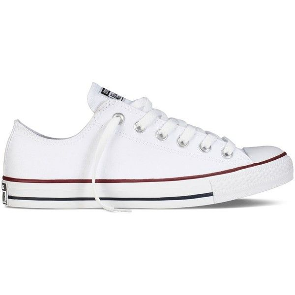 Converse Chuck Taylor All Star Shoes (M7652) Low Top in Optical White (£30) ❤ liked on Polyvore featuring shoes, sneakers, converse, white shoes, star sneakers, star shoes, rubber sole shoes and converse shoes