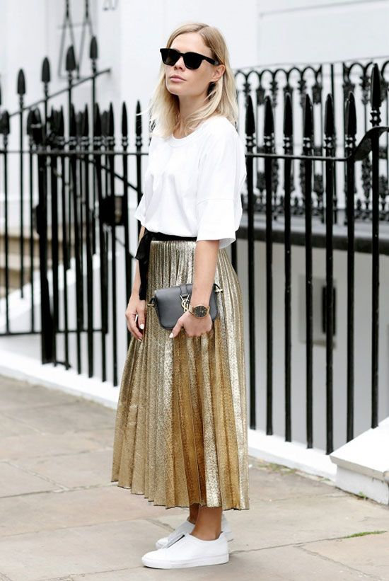 spring outfit, summer outfit, casual outfit, athleisure outfit, street style, comfy outfit, nigh out outfit, party outfit, edgy outfit, summer trends 2016, fall trends 2016, holiday outfit - white t-shirt, metallic pleated skirt, golden pleated midi skirt, white sneakers, black sunglasses, black shoulder bag