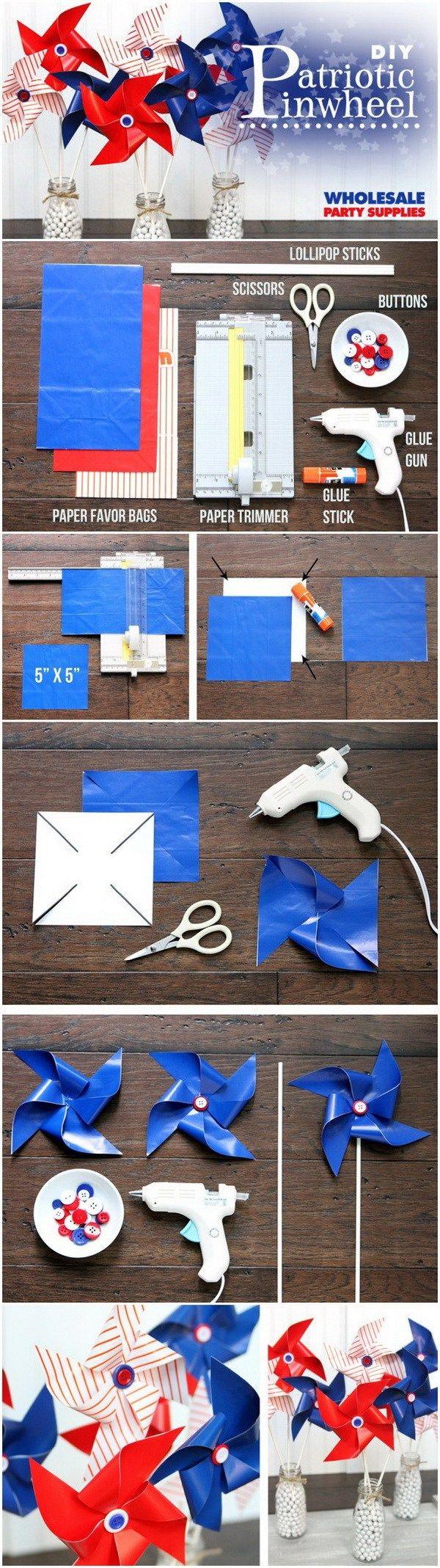DIY 4th of July Decorations: DIY Patriotic Paper Pinwheel.