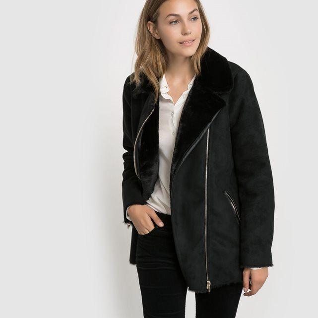 Manteau effet peau Vilier Jacket noir Vila prix promo Manteau Femme La Redoute 119.95 €