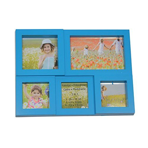 Felices Pascuas Collection 11.5 inch Blue Multi-Sized Puzzled Photo Picture Frame Collage Wall Decoration