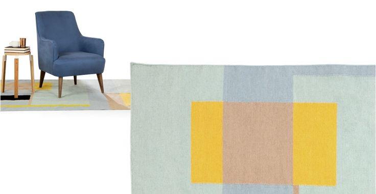 Teva Flachgewebter Teppich 170 x 240 cm, verschiedene Pastelltöne | MADE.COM