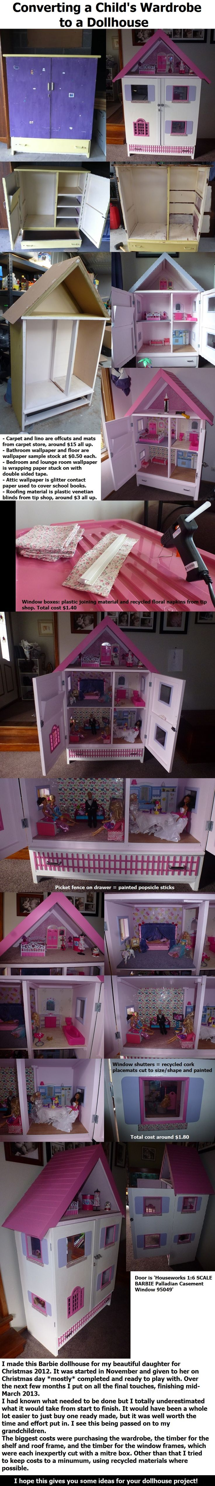 Converting a child's wardrobe/armoire to a Barbie dollhouse. Includes DIY ideas for shutters, window boxes, wallpaper, flooring, picket fence, roof, roofing materials/shingles, decor etc. # Barbie Dollhouse # Armoire dollhouse # Wardrobe dollhouse # DIY dollhouse