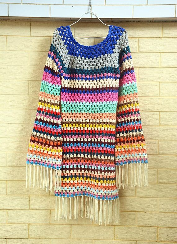 granny square striped dress with sleeves