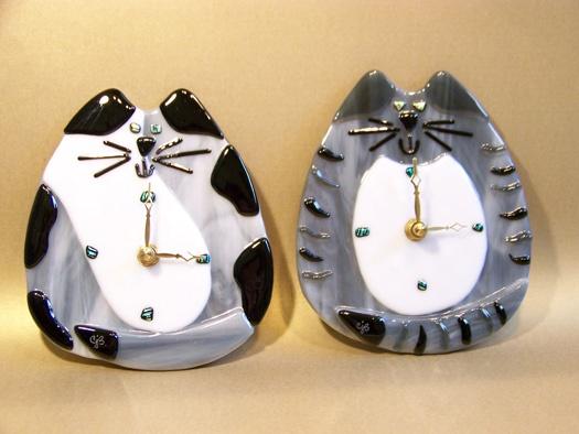 Fused Glass Cat Clocks