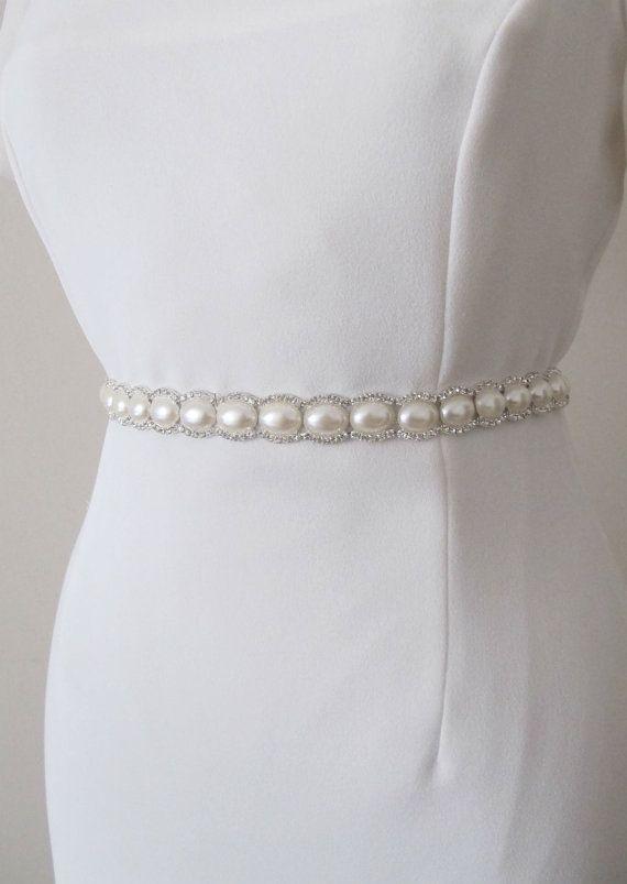 Bridal Crystal Pearl Beaded  Belts  Wedding Sash Belt by gebridal, $32.00