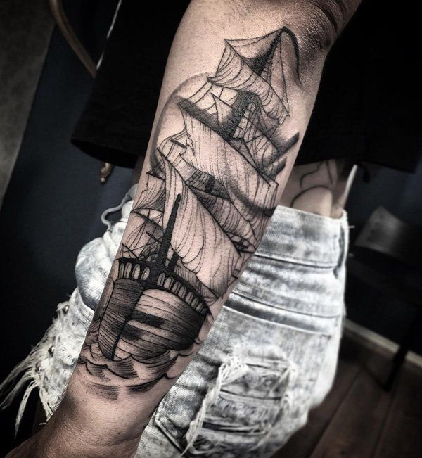 Boat forarm tattoo for girl - 100 Boat Tattoo Designs  <3 <3