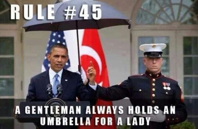 This fake has no idea that he insulted the entire Corps by instructing a Marine to hold his umbrella. What a pansy!