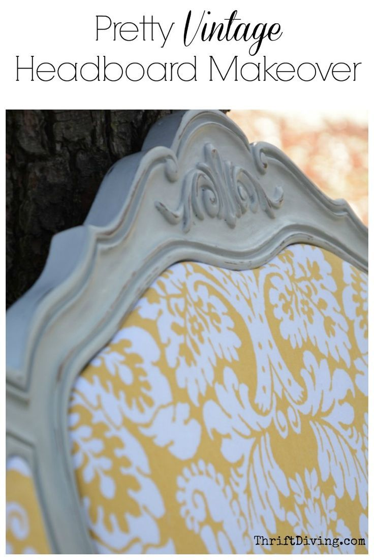 Pretty Vintage Headboard Makeover from the Thrift Store - I had found an old thrifted headboard for $15 and knew it would be beautiful with paint and new fabric! Read this for headboard ideas.