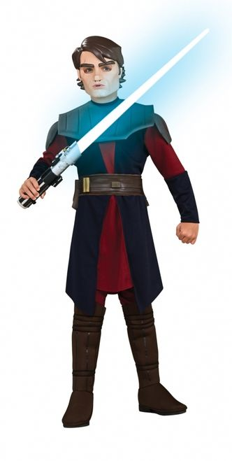 Deluxe Star Wars Children's Anakin Costume - This is an officially licensed Clone Wars Anakin costume from the Star Wars saga. The costume includes a navy blue and burgundy stretch knit tunic with attached molded foam chest and shoulder armour, and a pair of matching burgundy stretch knit pants with attached brown foam-like boottops. #anakin #skywalker #starwars #costume #calgary #kids #scifi #yyc
