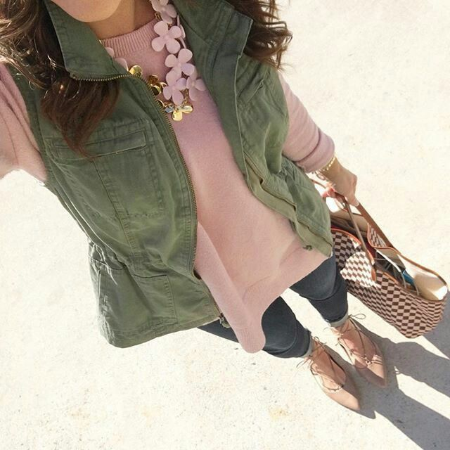 Olive vest. Blush rose top. Spring
