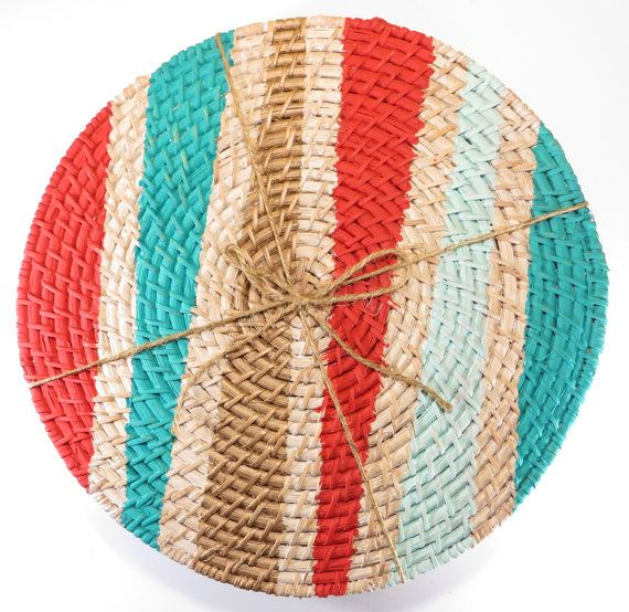 Hey, I found this really awesome Etsy listing at https://www.etsy.com/listing/186120412/hand-painted-rattan-placemats-set-of-4