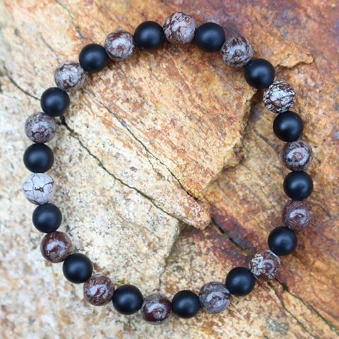 Let your actions manifest your dreams and turn possibility into reality.  MANIFEST BRACELET Onyx + Brown Snowflake Obsidian Possibility Collection   #mymalarae