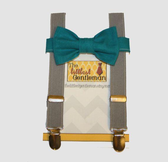 boy bow tie suspenders set grey teal bow by TheLittlestGentleman, $29.99