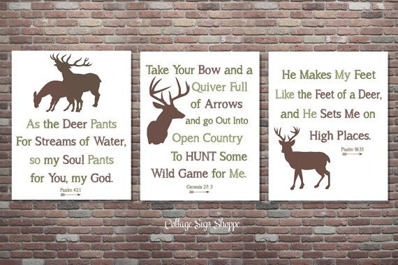 Hunting Signs Deer Hunting Scripture Sign by CottageArtShoppe
