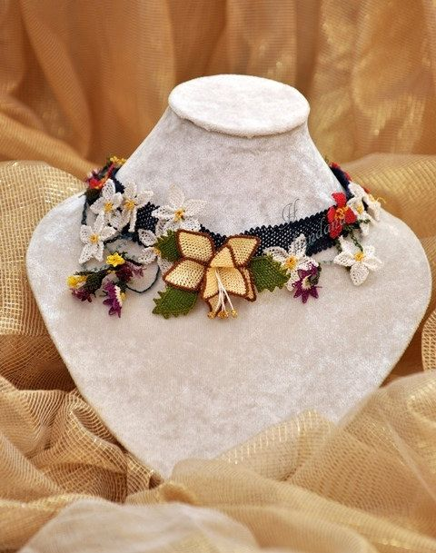 Flower Necklace Made With Needle Lace by handana on Etsy, $250.00