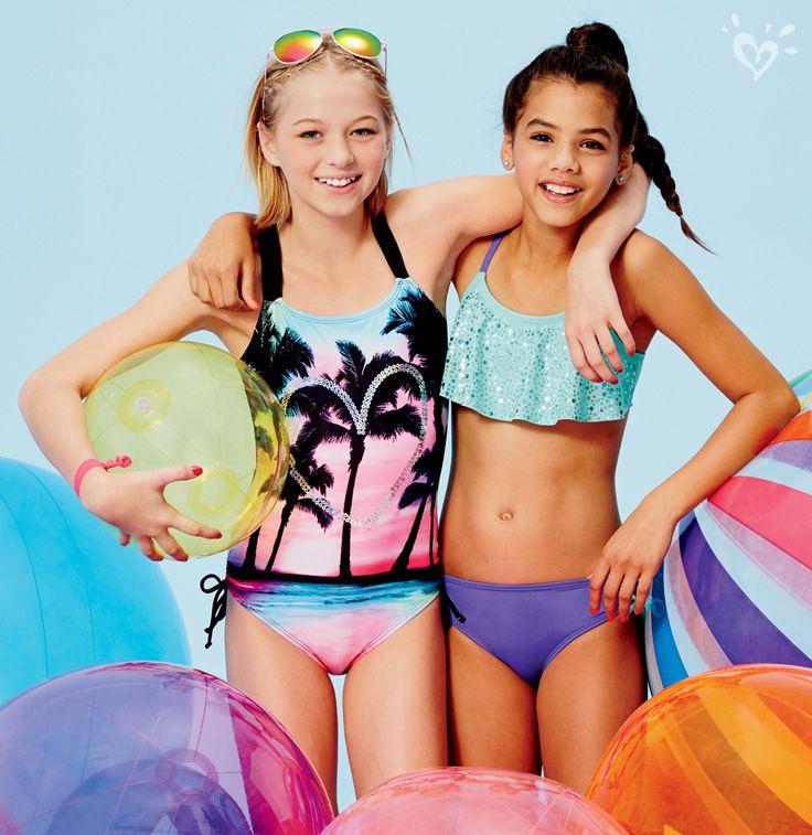 Young school teens in bikinis