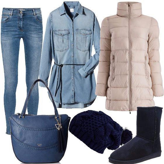 Che il look sia sportivo, trendy o chic, con un jeans non si è mai fuori luogo. In questo caso ho scelto un jeans skinny di Pennyblack e l'ho abbinato ad una camicia lunga in tessuto jeans avvitata e con cintura in vita. Piumino media lunghezza, con collo alto e chiusura con zip, sotto un paio di stivali caldi in velluto fuori con pelliccia sintetica dentro, una borsa a mano con cerniera ed un delizioso cappellino con pon pon lavorato a maglia grossa.