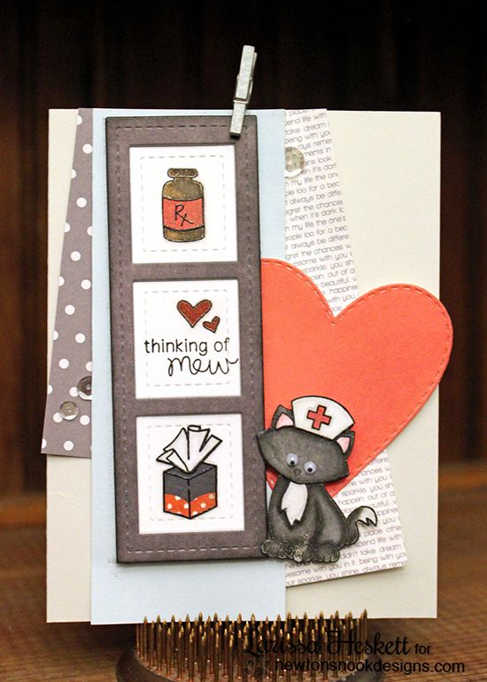 Card Making Layouts Ideas Part - 49: Get Well Cat Nurse Card By Larissa Heskett | Newtonu0027s Sick Day Stamp Set By  Newtonu0027s
