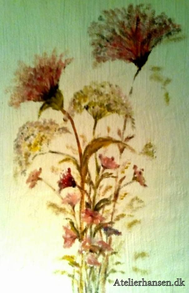 Blomster på min væg fra mit smukke Falster <3 flowers on my wall from my beautiful Falster Wall painting 80 x 60 cm