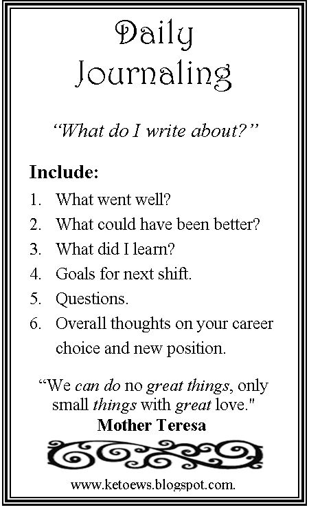 RN Daily Journaling, print this image out and use as a bookmark in your journal. Great tool to help with clinical reflections or remembering different nurse-related experiences.