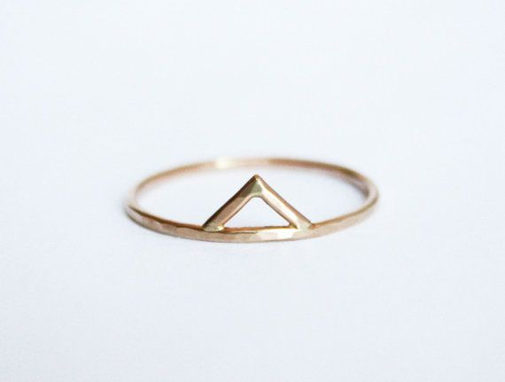 Gold Spike Ring 14kt Gold Filled Chevron Small door StefanieSheehan, $49.00