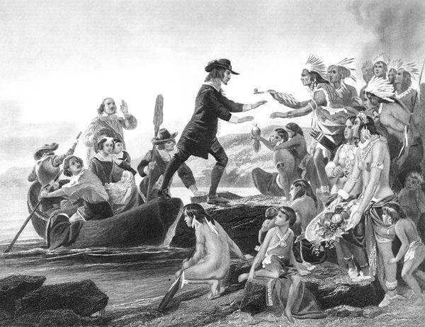 Rhode Island Colony | Colonial Rhode Island: Landing of Roger Williams in Rhode Island
