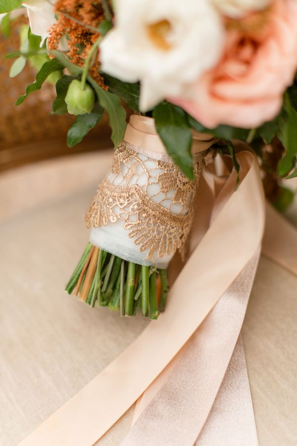 Rose gold lace on bouquet ribbons.  Anthomanic.
