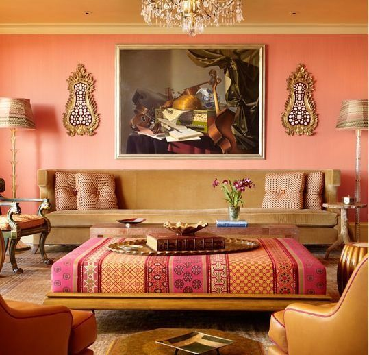 Living room with India touches - ottoman fabric, gold