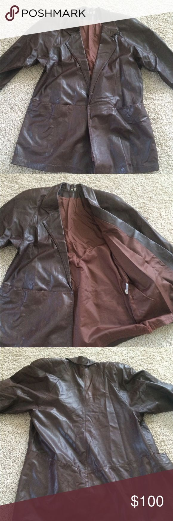 Vintage brown leather jacket Brown leather jacket women's size small Some marks- enlarge photos to see Very soft and comfortable Jackets & Coats