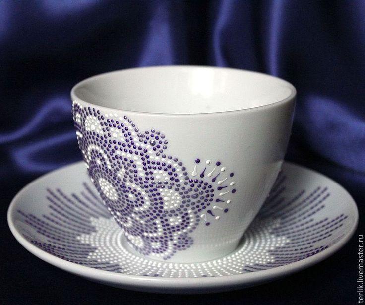 """Купить """"Фиолетовая роза"""" чайная пара. Серия """"Чайная посуда керамика"""" - посуда, чайная посуда"""