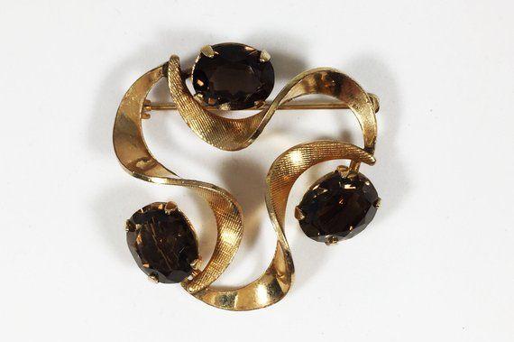 12k Gf Winard Gemstone Brooch Vintage 1940s 1950s 12 Karat Gold Filled Smokey Quartz Amethyst Citrine Vintage Designer Jewelry Vintage Jewelry Gemstone Brooch