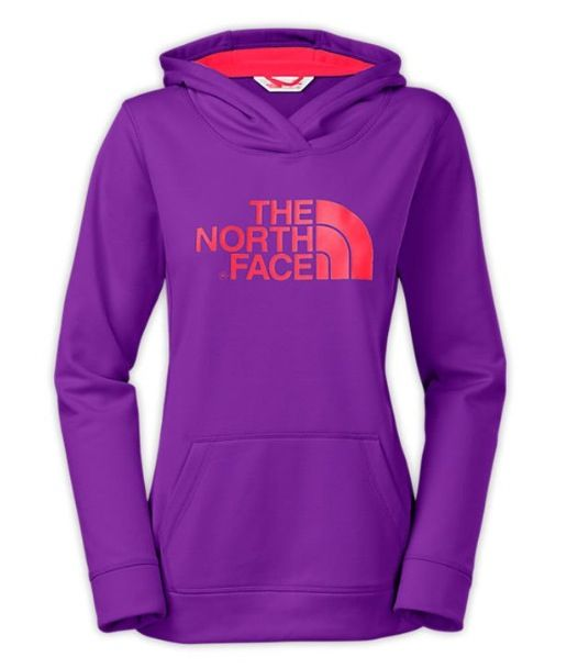 Pink and purple north face jacket
