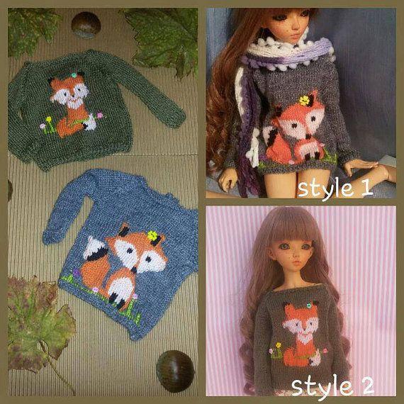 Fox sweater for Minifee slim msd. Bjd pullover. by DooDooCorner