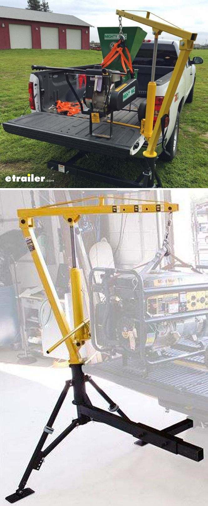 Easily load and unload cargo and equipment into and out of your pickup truck bed with this heavy-duty, hitch-mounted crane. Hydraulic ability eliminates the need for wiring and provides smooth, controlled operation.