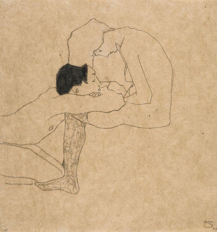 Egon Schiele (Austrian, 1890-1918), Liebende [Lovers], c.1909. Pencil and coloured crayon on paper, 31.5 x 29.5 cm.
